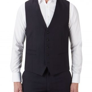 Newman Waistcoat In Navy Or Black Self Check