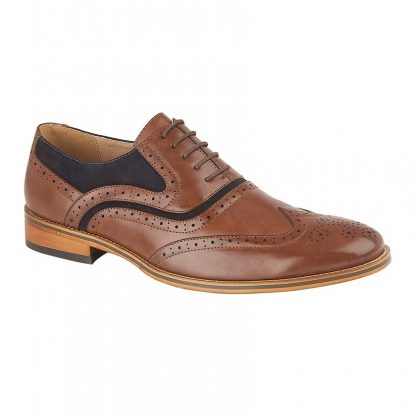 Brogue Oxford Shoe Faux Suede In Navy and Tan 5 Eye Brogue Oxford Shoe Leather Lining & Sock Resin Sole Various Sizes Available