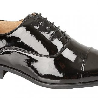 Pleated Cap Oxford Tie Shoe In Black