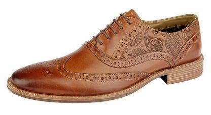 Tattoo Brogue Shoe In Tan Leather